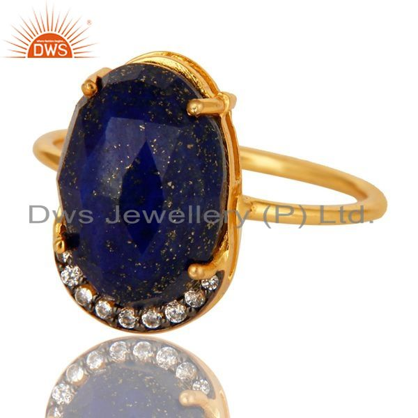 Exporter Natural Lapis Lazuli Gemstone Sterling Silver Ring With Yellow Gold Plated