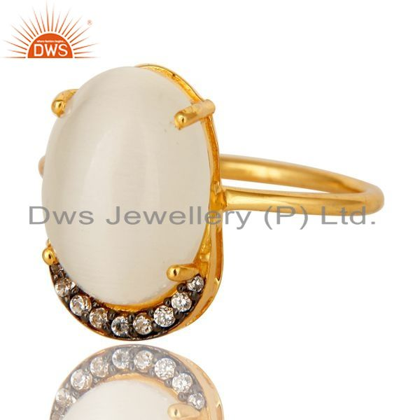 Exporter 14k Gold Plated Sterling Silver White Moonstone Gemstone Stacking Ring With CZ