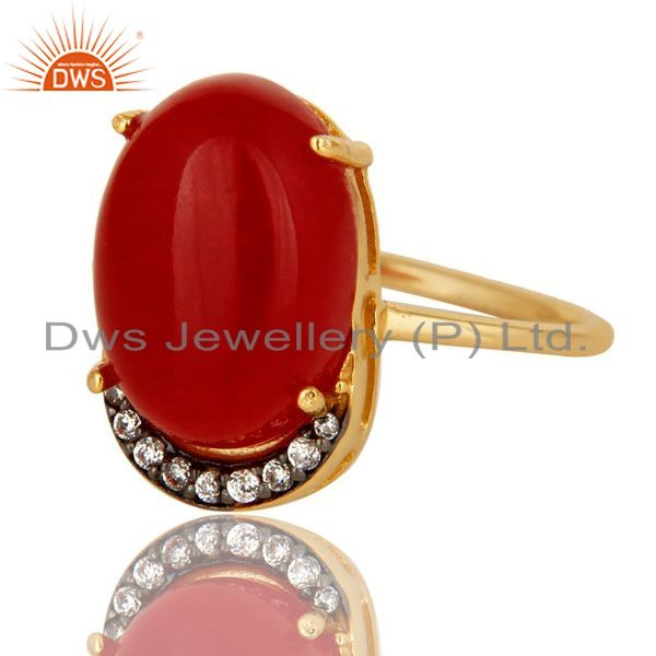 Exporter 14K Yellow Gold Plated Sterling Silver Red Aventurine Prong Set Ring With CZ