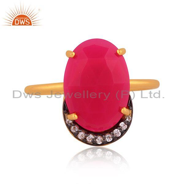 Cz and pink chalcedony set gold, black on silver earrings