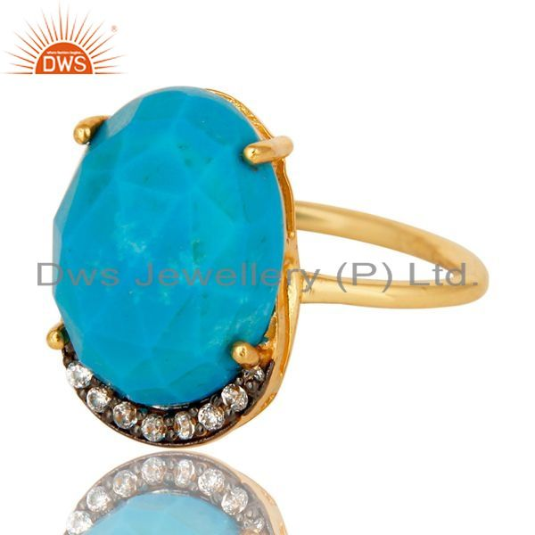 Exporter Shiny 14K Yellow Gold Plated Sterling Silver Turquoise Prong Set Stacking Ring