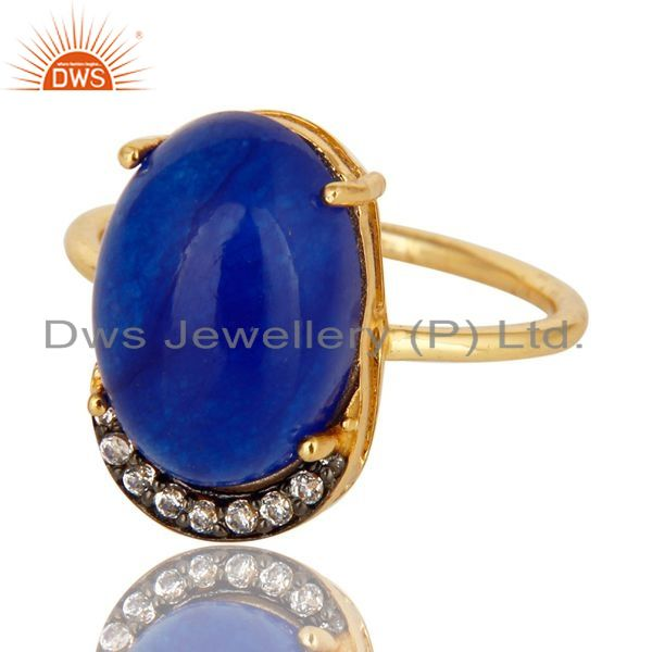 Exporter Natural Blue Aventurine 18K Gold Plated Sterling Silver Stacking Ring With CZ