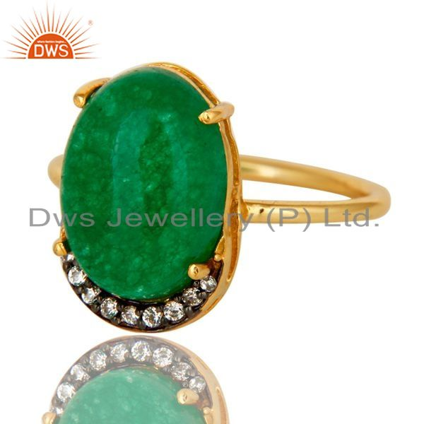 Exporter 14K Gold Plated Sterling Silver Green Aventurine Party Wear Fashion Ring With CZ