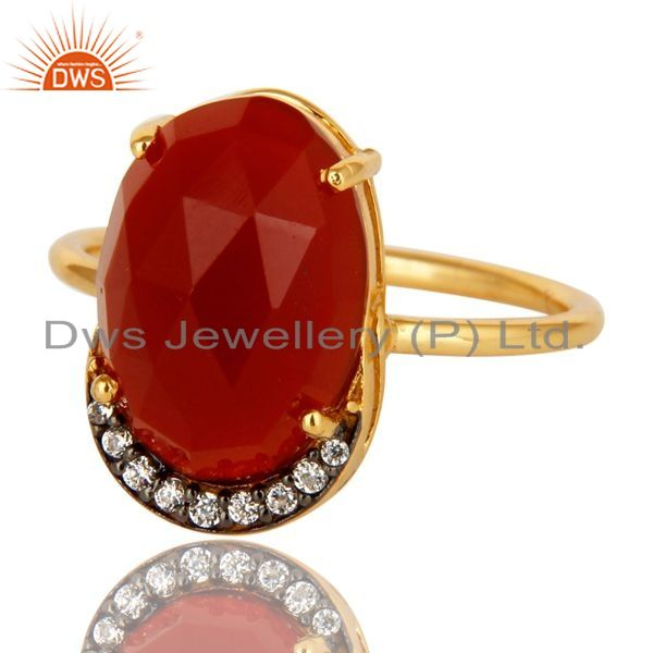 Exporter 18K Yellow Gold Plated Sterling Silver Red Onyx Stackable Ring With CZ