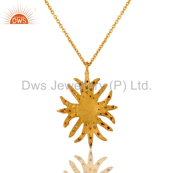Exporter 18K Yellow Gold Plated CZ And Red Onyx Gemstone Pendant With 16