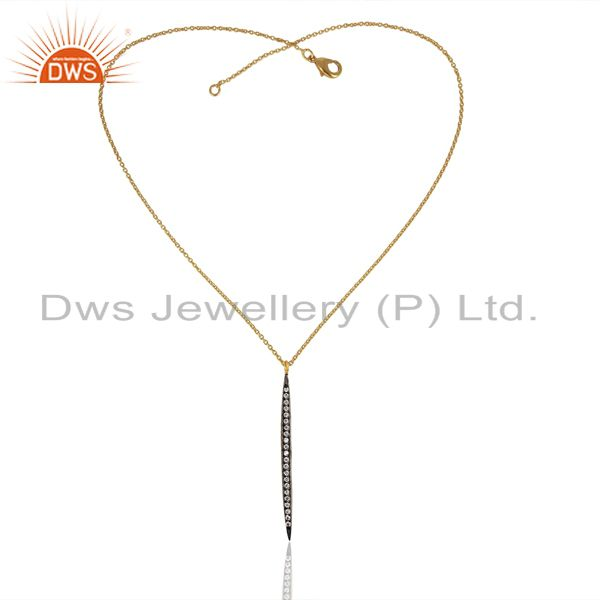 Exporter CZ 14K Yellow Gold Plated Brass Chain Pendant Necklace Jewelry