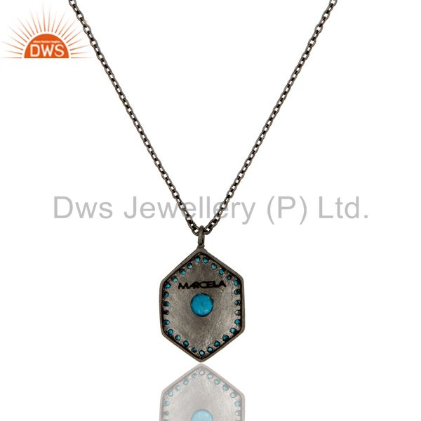 Exporter Fashion Look Design Brass Chain Pendant with Black Oxidized & Zircon Blue Topaz