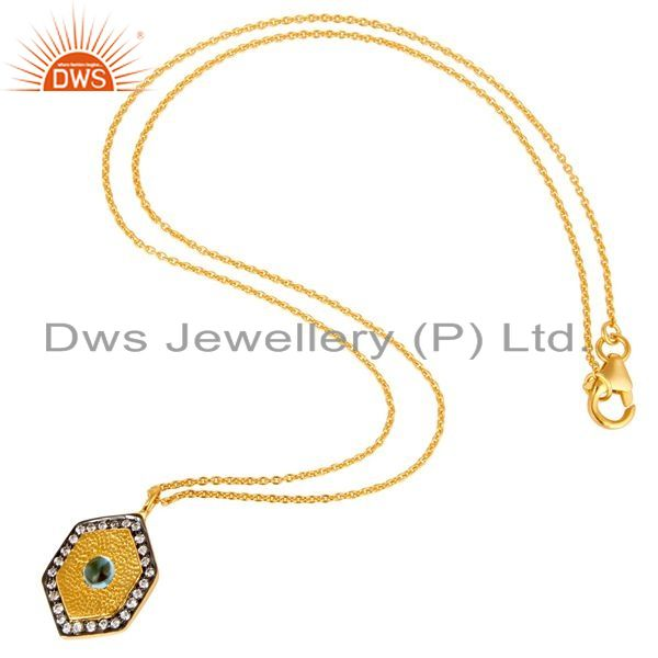 Exporter 14K Yellow Gold Plated Sterling Silver Blue Topaz And CZ Pendant With Chain