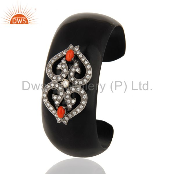 Exporter Designer Red Coral Gemstone & White Zircon Black Bakelite Cuff Bangle Bracelet