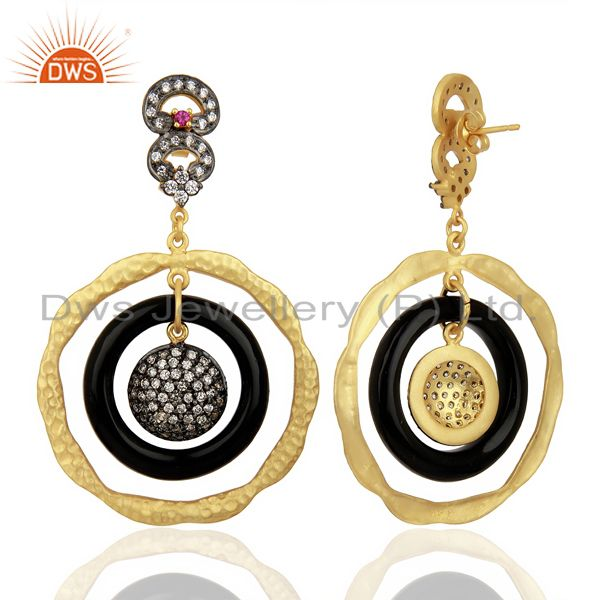 Exporter 22K Yellow Gold Plated Sterling Silver Bakelite & Cubic Zirconia Dangle Earrings