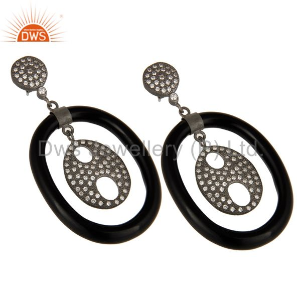 Exporter Handmade 925 Sterling Silver White Zircon Bakelite Designer Dangle Earrings
