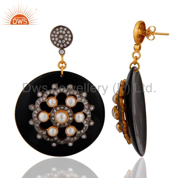Exporter Black Bakelite Natural Pearl White Cubic Zirconia CZ Designer Dangle Earrings