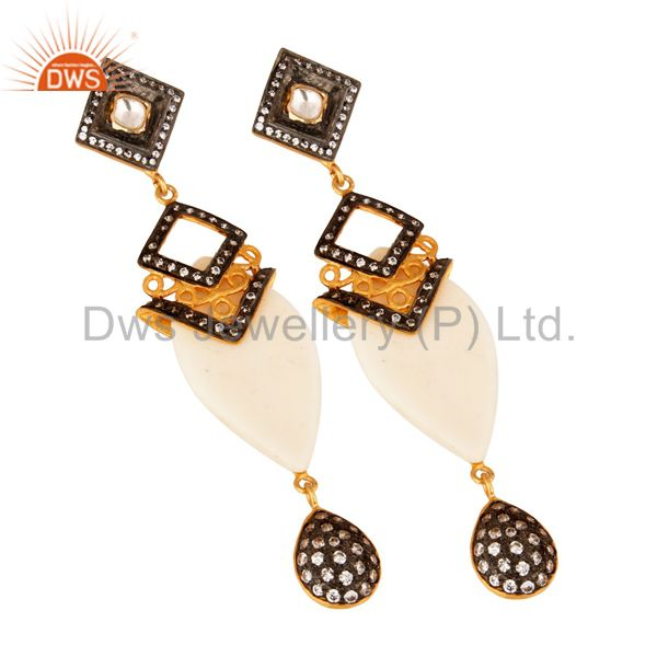 Exporter Gold Plated Crystal Cubic Zirconia Polki Victorian Estate Style Dangle Earrings