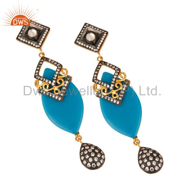 Exporter Sterling Silver Crystal & White Zircon Designer Bakelite Women Fashion Earring