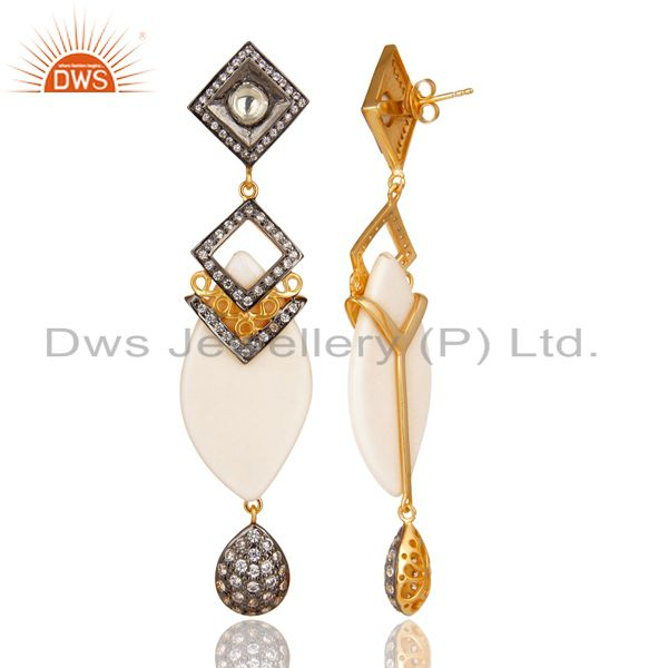 Exporter 14K Gold Plated Sterling Silver Crystal Quartz & CZ Polki Victorian Earrings