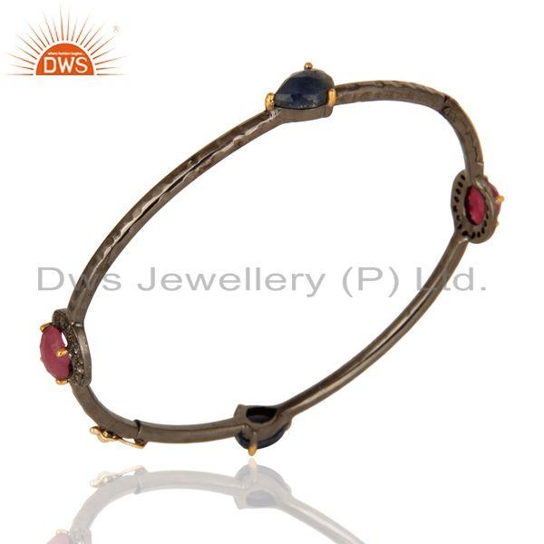 Exporter Solid 14K Yellow Gold Ruby And Blue Sapphire Gemstone Bangle With Pave Set Diamo