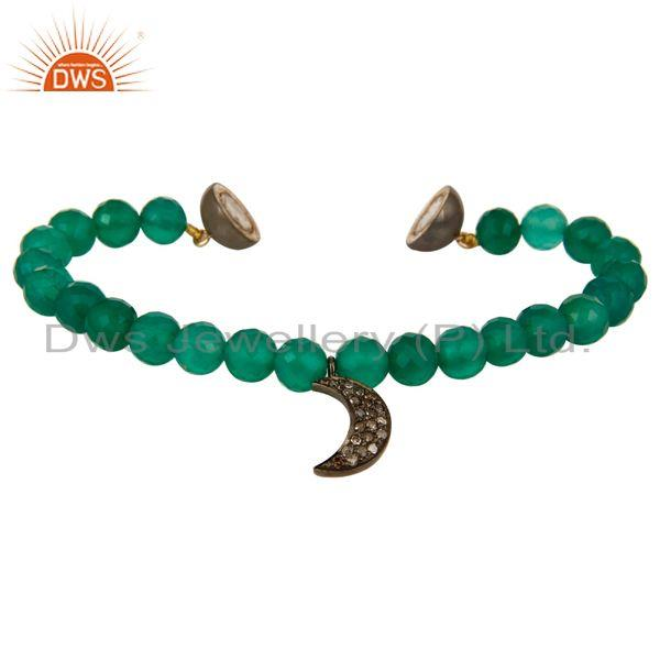 Exporter 14K Gold Diamond Half Moon Charm Green Onyx Beads Bracelet With Magnetic Clasp
