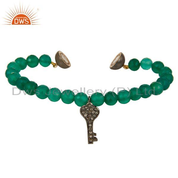Exporter 14K Gold Pave Diamond Key Charms Faceted Green Onyx Beads Bracelet Jewelry