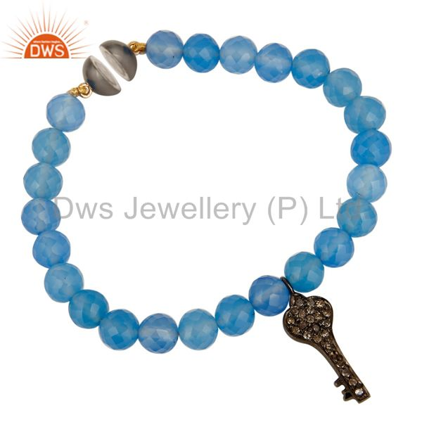 Exporter Solid 14K Yellow Gold Blue Chalcedony Bracelet With Pave Diamond Key Charm