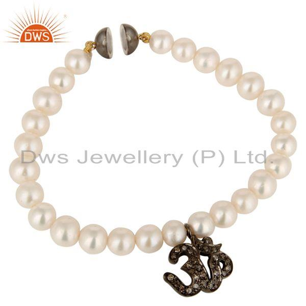 Exporter 14K Solid Yellow Gold Natural Pearl Bracelet With Pave Diamond Om Charm