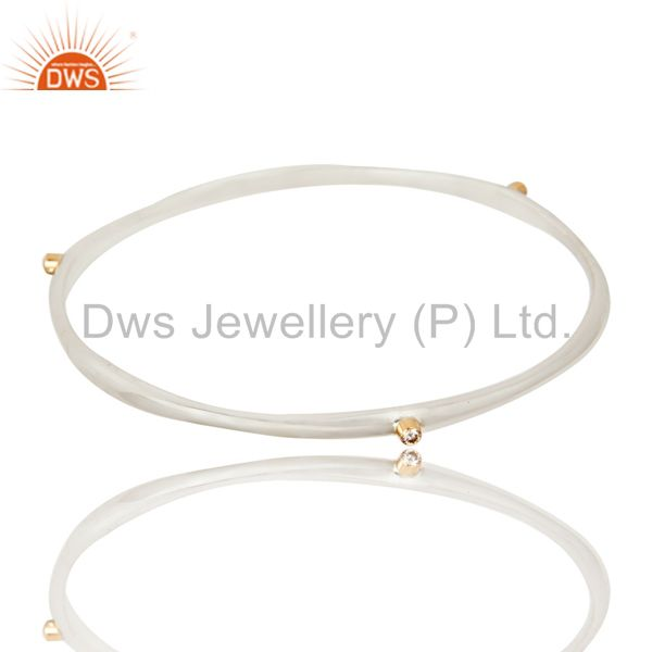 Supplier of Sterling silver stacking bangle set three 1.5mm bezel set diamonds