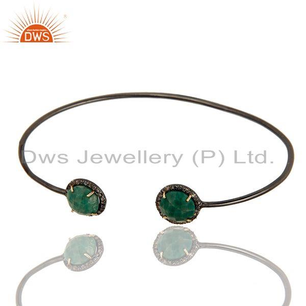 Exporter 14K Solid Gold Pave Set Diamond And Natural Dyed Emerald Adjustable Bangle