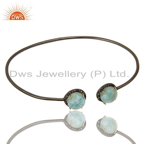 Exporter 14K Gold Pave Set Diamond And Natural Larimar Sterling Silver Adjustable Bangle