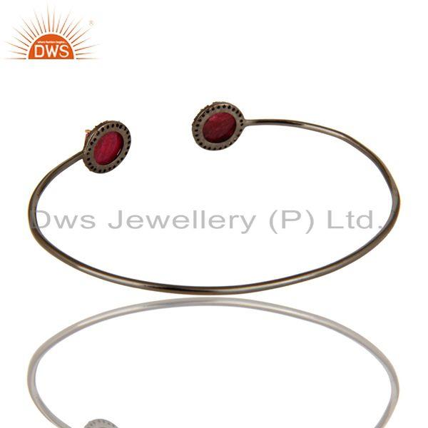 Exporter Red Corundum And Pave Diamond 14K Yellow Gold Stackable Open Bangle Bracelet