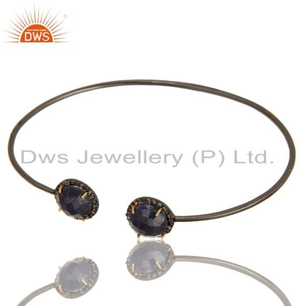 Exporter Pave Set Diamond Natural Blue Sapphire Adjustable Bangle In 14K Gold And Silver
