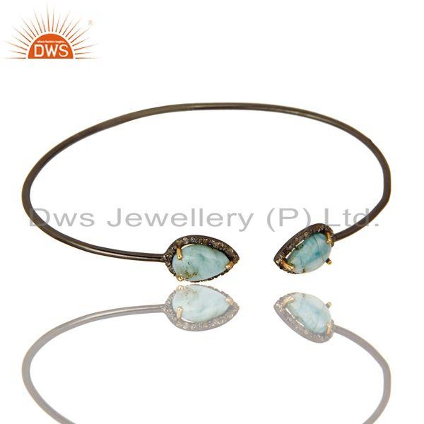 Exporter 14K Yellow Gold Sterling Silver Larimar And Pave Diamond Stackable Open Bangle