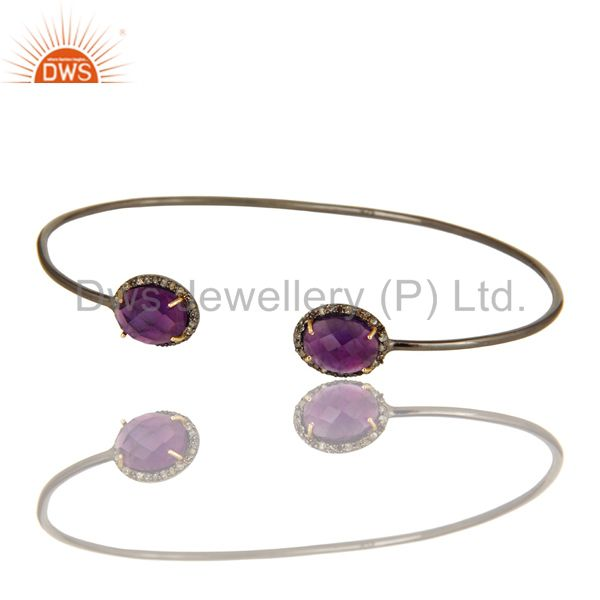 Exporter Sterling Silver And 14K Yellow Gold Amethyst And Pave Diamond Stack Open Bangle