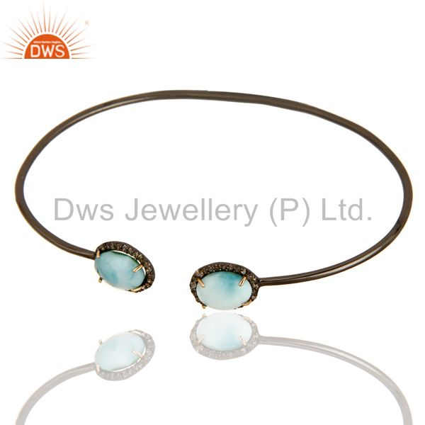 Exporter Larimar Gemstone And Pave Set Diamond Bangle Made In 14K Gold And Silver