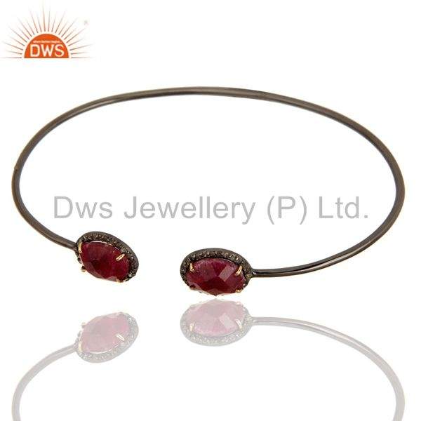 Exporter Solid 14K Gold And Silver Dyed Ruby And Pave Set Diamond Adjustable Bangle