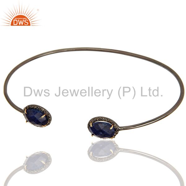 Exporter Solid 14K Gold And Silver Blue Sapphire Pave Set Diamond Open Bangle Bracelet