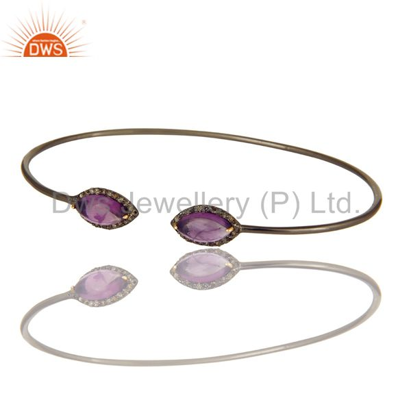Exporter Amethyst And Pave Diamond Stack Open Bangle In 18K Gold And Sterling Silver