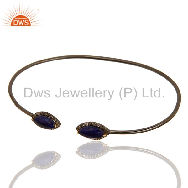 Exporter 14K Yellow Gold And Sterling Silver Blue Sapphire Pave Diamond Openable Bangle