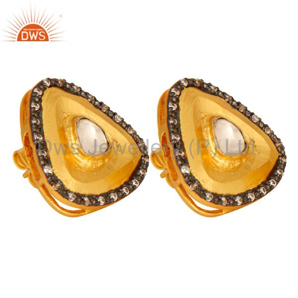 Exporter 18K Yellow Gold Plated Brass Crystal Quartz Polki And CZ Stud Earrings