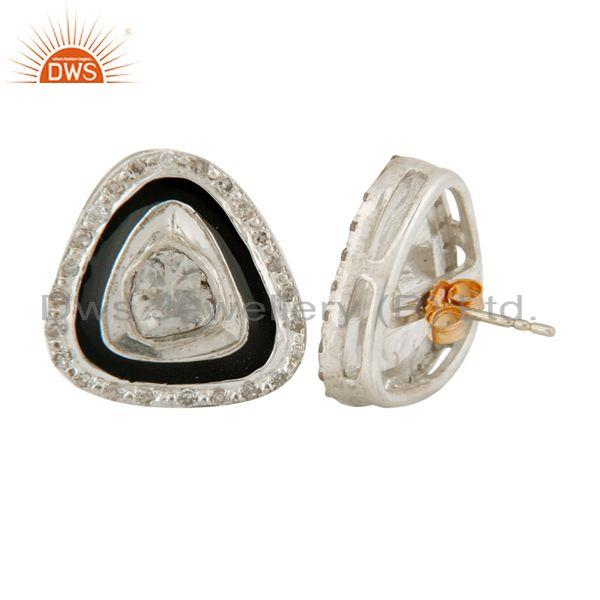 Exporter Rose cut Diamond Sterling Silver 18k GOld Victorian Look Stud Gift Earrings