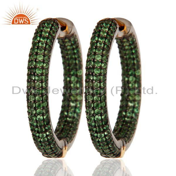 Exporter Solid 14K Yellow Gold Hoop Earrings With Natural Tsavorite Gemstone Jewelry