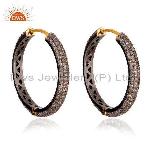 Exporter Pave Diamond 14k Yellow Gold Hoop Earrings 925 Sterling Silver Fashion Jewelry