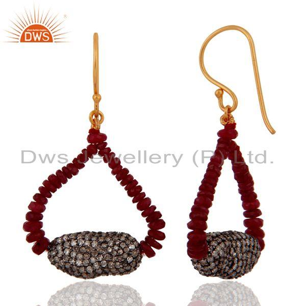 Exporter 18K Solid Yellow Gold Genuine Pave Diamonds Ruby Beads Sterling Silver Earrings