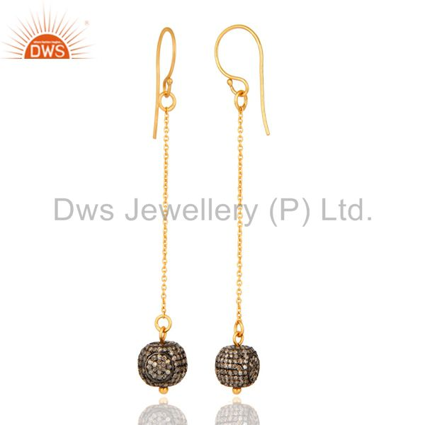 Exporter 14K Yellow Solid Gold Pave Set Diamond Silver Bead Chain Dangle Hook Earrings