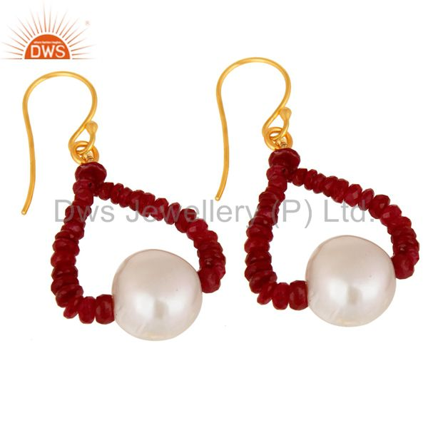 Exporter Genuine 18K Yellow Gold Natural Ruby Gemstone And Pearl Dangle Earrings