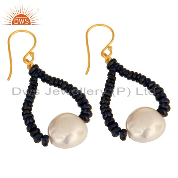 Exporter 18K Yellow Gold Blue Sapphire Gemstone Dangle Earrings With Natural White Pearl