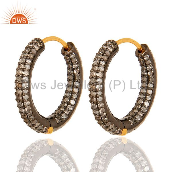 Exporter Solid 14K Yellow Gold Micro Pave Setting Round Diamond Hoop Earrings