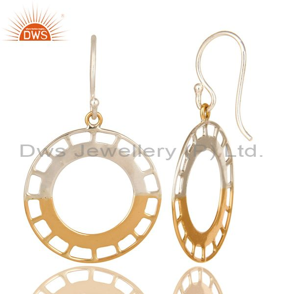 Exporter Handmade 18k Solid Yellow Gold And Half Sterling Silver Circle Designer Earrings