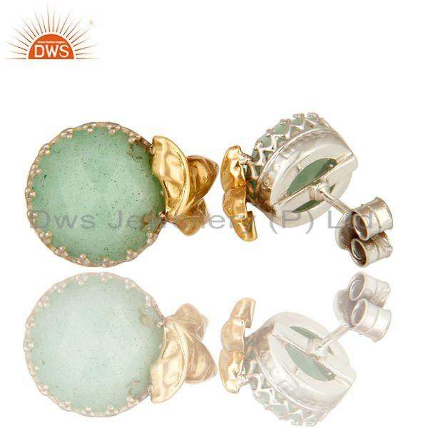 Exporter Handmade 18k Solid Yellow Gold Chrysoprase Faceted Gemstone Stud Earrings