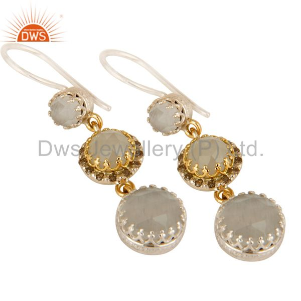 Exporter 18K Gold And Sterling Silver Pave Diamond White Moonstone Dangle Earrings