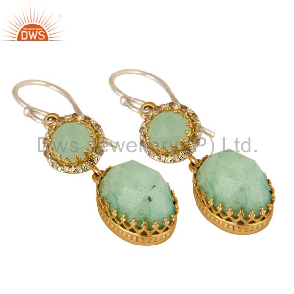 Exporter Natural Chrysoprase 18K Yellow Gold Pave Diamond Sterling Silver Dangle Earrings