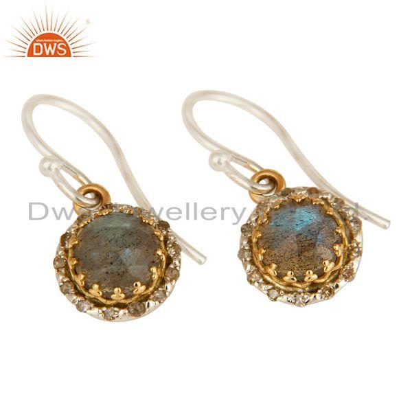 Exporter 18K Gold And Sterling Silver Pave Diamond Labradorite Gemstone Dangle Earrings